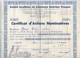 Société Auxiliaire Du Commerce Français. Certificat D'actions Nominatives. Société Giron Frères - Acciones & Títulos