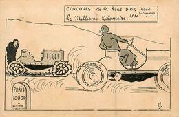 CPA Illustrateur MICH * Concours De La Roue D'or , Le Millième Kilomètre ! * Pneus VULCAN * Cpa Publicitaire Publicité - Mich