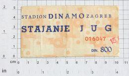 YUGOSLAVIA (Croatia) - Dinamo Zagreb - Vintage Match Ticket (MI#12) - Match Tickets
