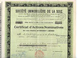 Société Immobilière De La Soie. Certificat D'actions Nominatives. Société Giron Frères - Textile