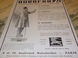 ANCIENNE PUBLICITE VETEMENT BURBERRYS  1928 - Vintage Clothes & Linen