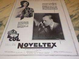 ANCIENNE PUBLICITE FANTAISIE D ABORD COL DE CHEMISE  NOVELTEX  1928 - Vintage Clothes & Linen