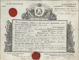 Autographe Pierre Marie Du Lau D'Allemans Général à St Domingue Haïti + Armée Condé Congé Militaire Absolu Cavalerie - Autographes