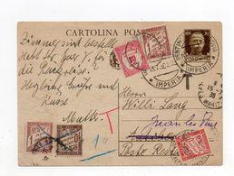 !!! ENTIER DE VINTIMILLE POUR ANTIBES REEXP A JUAN LES PINS DE 1936; TAXES DE POSTE RESTANTE + TAXE AFFRANCH INSUFFISANT - Postage Due Covers