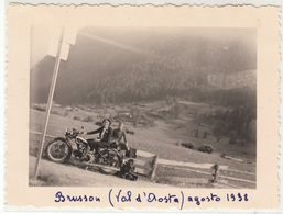 MOTO MOTORCYCLE GUZZI - FOTO ORIGINALE BRUSSON VALLE D'AOSTA 1938 - Photos