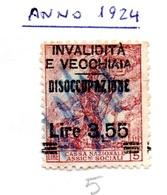 MARCHE PER CASSA NAZIONALE ASSICURAZIONI SOCIALI - L. 3,55/5 - Steuermarken