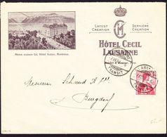 1909 Reklamencouvert, Hotel Cecil In Lausanne Nach Burgdorf Gelaufen. Minimes Risschen Unten Mitte. - Suisse