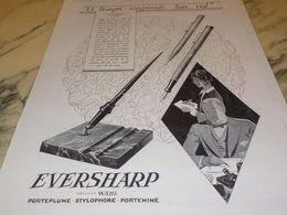 ANCIENNE PUBLICITE PORTE PLUME EVERSHARP  1928 - Autres Collections