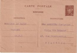 FRANCE : ENTIER POSTAL . TYPE PETAIN . 1.20 F . REPONSE D'UN EXTRAIT D'ACTE DE NAISSANCE . AB . 1944 . - Reply Coupons
