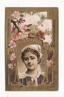 Chromo  BISCUITS LEFEVRE UTILE    Femme Et Fleurs  Chromo Gaufré     10.6 X 6.7 Cm - Lu