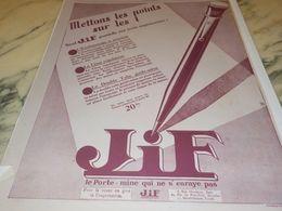 ANCIENNE PUBLICITE LES POINTS SUR LES I JIF   1928 - Autres Collections