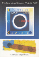 CPA ASTRONOMY, 1999 TOTAL SOLAR ECLIPSE, STAMP PICTURE - Astronomia