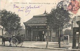 CPA 75 Paris 75014 Avenue De L'Observatoire Et Gare De Port Royal - Calèche - Rare - Métro Parisien, Gares