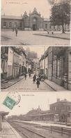 3 CPA:SAINT POL (62) LA GARE,RUE DES PROCUREURS ANIMÉE,LA GARE.ÉCRITES - France