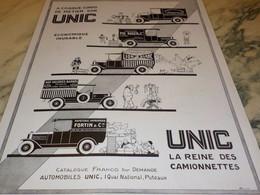 ANCIENNE PUBLICITE LA REINE DES  CAMIONNETTE UNIC   1928  CHANDEVILLE - Camions