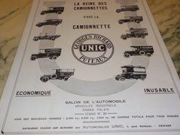 ANCIENNE PUBLICITE LA REINE DES  CAMIONNETTE UNIC   1928  CONFISERIE - Trucks