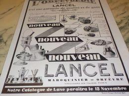ANCIENNE PUBLICITE ORFEVRERIE SIGNEE  LANCEL 1928 - Juwelen & Horloges