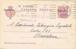 36807. Entero Postal MADRID 1932, Habilitado Republica, Num 61 º. Rodillo Mudo - Enteros Postales