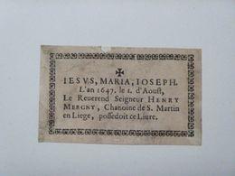 Ex-libris Typographique XVIIème - BELGIQUE - Le Reverend, Seigneur HENRY MERGNY, Chanoine De St Martin, à Liège - Ex-libris