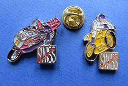 2 Pin's,MOTO-SPORT,BIKE,MOTO-CENTER THUN SUISSE,RACING FOR FUN - Cyclisme