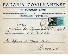 Covilhã  Postmark  , 1972 ,  PADARIA COVILHANENSE De ANTÓNIO ABREU  Cover , Wolframite Stamp - Postmark Collection