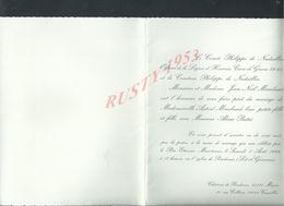 FAIRE PART DE MARIAGE LE COMTE & Md PHILIPPE DE NADAILLAC CROIX DE GUERRE 39/45 CHÂTEAU POUDENAS MÉZIN X VERSAILLES : - Boda