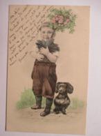 JEUNE  GARCON   POT  DE   FLEURS  ET   CHIEN      ....       TTB - 1900-1949