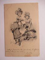 DEUX  JEUNES  FEMMES  ET  ARROSOIR  -  CHAMPIGNONS         ....       TTB - 1900-1949
