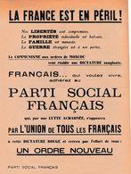 """PARTI SOCIAL FRANCAIS - """"LA FRANCE EST EN PERIL !"""" Au Verso Liste Des Permanences Provisoires (souvent Des Cafés) - Documenti Storici"""