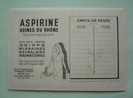 CARTE DE PESEE 1950 -  Pub ASPIRINE - Infirmière  - Au Verso : Les épiciers - Vitrail De ST-NICOLAS - Santé