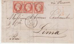 """FRANCE : N° 16 . BANDE DE TROIS . POUR """" LIMA """" ( PEROU) . VIA PANAMA . TTB . 1861 . - Poststempel (Briefe)"""