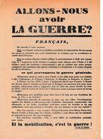 """L'ACTION FRANCAISE - """"Allons-nous Avoir LA GUERRE ? """" Tract De 2 Pages - Documents Historiques"""