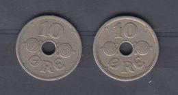 DANEMARK - 2 Pieces 10 Ore 1925/1935 - Denemarken