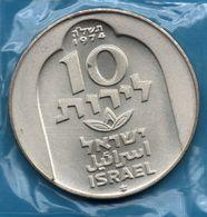 ISRAEL  10 LIROT 5735 (1974) ✡ KM# 78  Hanukkah  Damascus Lamp  Silver .500 Argent - Israel