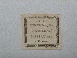Ex-libris Typographique XVIIIème - BELGIQUE - JEAN-LAURENT MASSAU FILS A VERVIERS - Ex-libris
