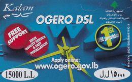 LEBANON - Ogero DSL, Kalam Prepaid Card 15000LL, Exp.date 31/12/11, Used - Libano