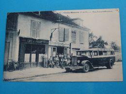 """91 ) Chilly-mazarin - Rue François-mouthon """" Café De La Mairie """" Autobus """" - Année 1933 - EDIT : Union Phototypique - Chilly Mazarin"""