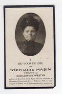 Doodsprentje VROUW FEMME Stephanie MASIN °1843 BREEDENE BREDENE +1927 OOSTENDE VUURTOREN // WESTYN - Images Religieuses