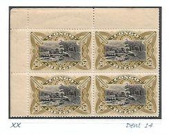 """COB N° 53 A  En Blocs De 4 Type """"Mols"""" Unilingues 50 C Olive Foncé XX MNH Côte 88.00€ - 1894-1923 Mols: Mint/hinged"""