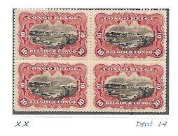 """COB N° 55  En Blocs De 4 Type """"Mols"""" Bilingues 10 C Carmin-rouge XX MNH Côte 5.60€ - 1894-1923 Mols: Mint/hinged"""