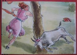 Fritz Loehr - Künstlerkarte Humor- Bzw. Werbekarte Für Pharma Chemiewerk Homburg: Flucht Vor Ziege - Humor