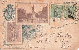 Portugal 1902 Timbre Perforé 2 Timbres Perforés Sur Carte Postale Recordaçao De Lisboa à Destination De La France - 1892-1898 : D.Carlos I