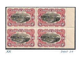 """COB N° 65 En Blocs De 4 Type """"Mols"""" Bilingues 10 C Carmin XX MNH Côte 4.00€ - 1894-1923 Mols: Mint/hinged"""