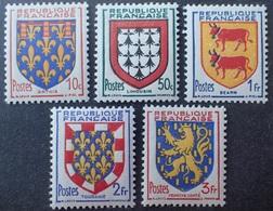 R1537/202 - 1951 - FRANCE - ARMOIRIES DE PROVINCES (V) SERIE COMPLETE - N°899 à 903 NEUFS** - France