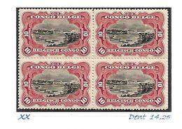 """COB N° 65 A (ciel Retouché) En Blocs De 4 Type """"Mols"""" Bilingues 10 C Carmin XX MNH Côte 12.00€ - 1894-1923 Mols: Mint/hinged"""