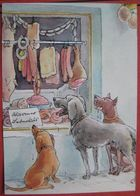 Fritz Loehr - Künstlerkarte Humor- Bzw. Werbekarte Für Pharma Chemiewerk Homburg: Hunde Vor Metzgerei-Auslage - Humor