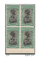 """COB N° 66 En Blocs De 4 Type """"Mols"""" Bilingues 15 C Vert XX MNH Côte 4.00€ - 1894-1923 Mols: Mint/hinged"""