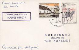 Enveloppe 1533 1668 Courrier Par Diligence Postes Belges Verviers à Koksijde - Belgium