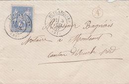 Yvert 78 Sage Seul Sur Lettre PUYCASQUIER Gers Cachet A Boite Rurale ( Non Située ) 5/7/1877 à Montaut Auch - Marcofilie (Brieven)