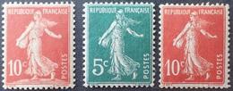 R1615/2194 - 1906 - FRANCE - TYPE SEMEUSE CAMEE - N°134 NEUF* + N°137 NEUF** + N°138 NEUF* - 1906-38 Säerin, Untergrund Glatt